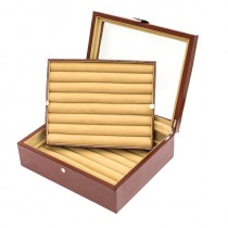 Thirty-six Pair Cufflinks Storage Case Brown Leather