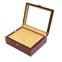 Thirty-six Pair Cufflinks Storage Case Brown Leather