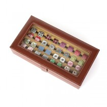 Twenty-pair Cufflinks Box Storage Case Brown Leather