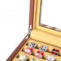 Twenty-pair Cufflinks Box Storage Case Brown Leather