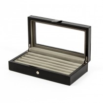 Twenty-pair Cufflinks Box Storage Case Black Leather