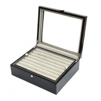 Seventy-two Pair Cufflinks Storage Case Black Oak Wood