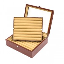 Seventy-two Pair Cufflinks Storage Case Brown Leather