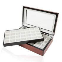 Fifty-eight Double Walnut Cufflinks Storage Box