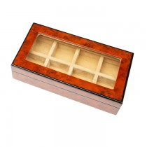 Eight Cufflinks Storage Box Burlwood Finish