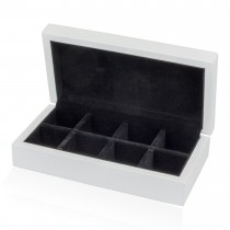 Eight-pair Cufflinks Storage Box White Lacquered Finish