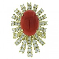 3.04ct Diamond & 5.77ct Italian Coral 14k Yellow Gold Ring