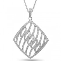 0.65ct 14k White Gold Diamond Pendant Necklace