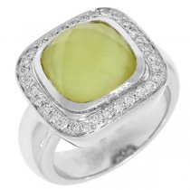 0.35ct Diamond & Yellow Quartz 18k White Gold Ring