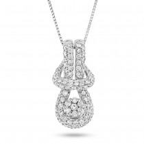 0.45ct 14k White Gold Diamond Knot Pendant Necklace