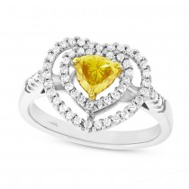 0.45ct Heart Shape Center and 0.31ct Side 18k White Gold EGL Certified Diamond Engagement Ring