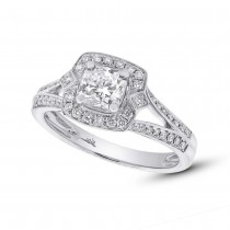 1.02ct 14k White Gold GIA Certified Radiant Cut Diamond Engagement Ring