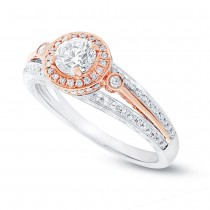 0.50ct Round Brilliant Center and 0.26ct Side 14k Two-tone Rose Gold Diamond Engagement Ring