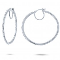 0.50ct 14k White Gold Diamond Hoop Earrings