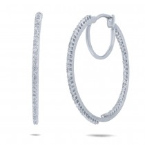 0.40ct 14k White Gold Diamond Hoop Earrings