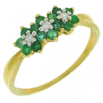 0.60ct 14k Yellow Gold Diamond & Emerald Ring