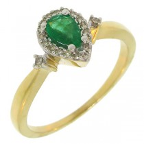 0.12ct Diamond & 0.36ct Emerald 14k Yellow Gold Ring