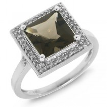 0.20ct Diamond & 2.20ct Smokey Topaz 14k White Gold Ring