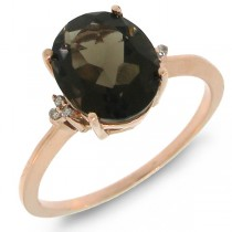 2.17ct 14k Rose Gold Diamond & Smokey Topaz Ring