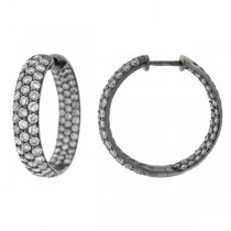 3.50ct 14k Black Rhodium Diamond Hoop Earrings