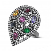 1.48ct Diamond & 1.69ct Multicolor Stone 14k Black Rhodium Ring
