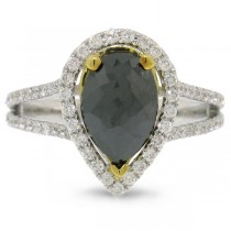 2.59ct 14k Two-tone Gold Pear Shape Black Diamond Ring