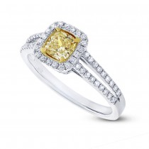 0.59ct Cushion Cut Center and 0.33ct Side 18k Two-tone Gold Natural Yellow Diamond Ring