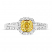 0.63ct Asscher Cut Center and 0.32ct Side 18k Two-tone Gold Natural Yellow Diamond Ring