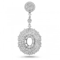 2.57ct 18k White Gold Diamond Semi-mount Pendant Necklace