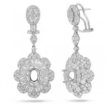 4.18ct 18k White Gold Diamond Semi-mount Earrings