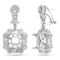1.84ct 18k White Gold Diamond Semi-mount Earrings