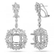3.17ct 18k White Gold Diamond Semi-mount Earrings
