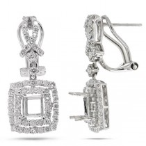 1.55ct 18k White Gold Diamond Semi-mount Earrings