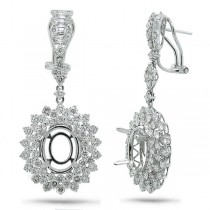 4.14ct 18k White Gold Diamond Semi-mount Earrings