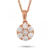 0.53ct 18k Rose Gold Diamond Cluster Pendant Necklace