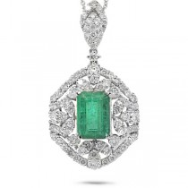 1.98ct Diamond & 2.53ct Emerald 14k White Gold Pendant Necklace