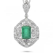1.98ct Diamond & 2.53ct Emerald 14k White Gold Pendant Necklace