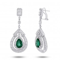 4.35ct Diamond & 4.30ct Emerald 18k White Gold Earrings