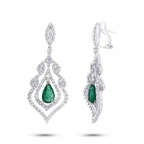 4.21ct Diamond & 2.82ct Emerald 18k White Gold Earrings