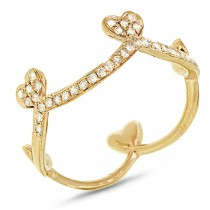 0.23ct 14k Yellow Gold Diamond Heart Crown Ring