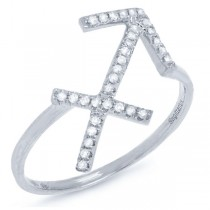 0.13ct 14k White Gold Diamond Zodiac Sagittarius Ring