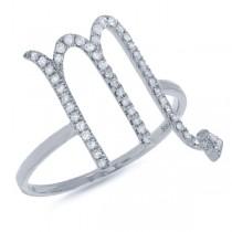 0.21ct 14k White Gold Diamond Zodiac Scorpio Ring