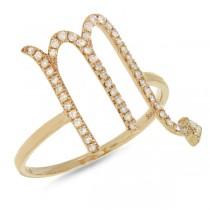 0.21ct 14k Yellow Gold Diamond Zodiac Scorpio Ring
