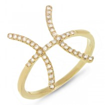 0.16ct 14k Yellow Gold Diamond Zodiac Pisces Ring