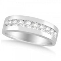 Nine Stone Round Channel Set Diamond Men's Band in 14k White Gold (1.00ct)