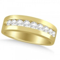 Nine Stone Round Channel Set Diamond Men's Band in 14k Yellow Gold (1.00ct)