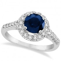 Halo Diamond Accented Blue Sapphire Ring 14k White Gold (2.00ctw)