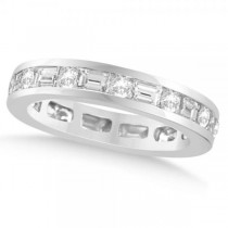 Round & Baguette Cut Diamond Eternity Band 14k White Gold (1.75ct)