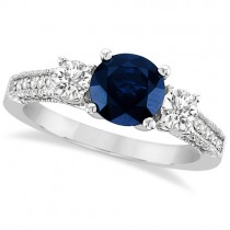 Vintage Milgrain Diamond and Blue Sapphire Ring 14k White Gold (2.32ct)