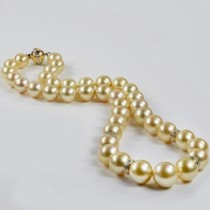 Golden South Sea Pearl Strand Necklace w/ Diamonds 14k Y Gold 10-13mm|escape